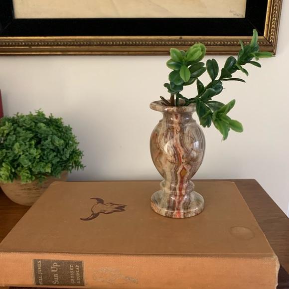 Vintage Onyx Marble Turned Bud Vase